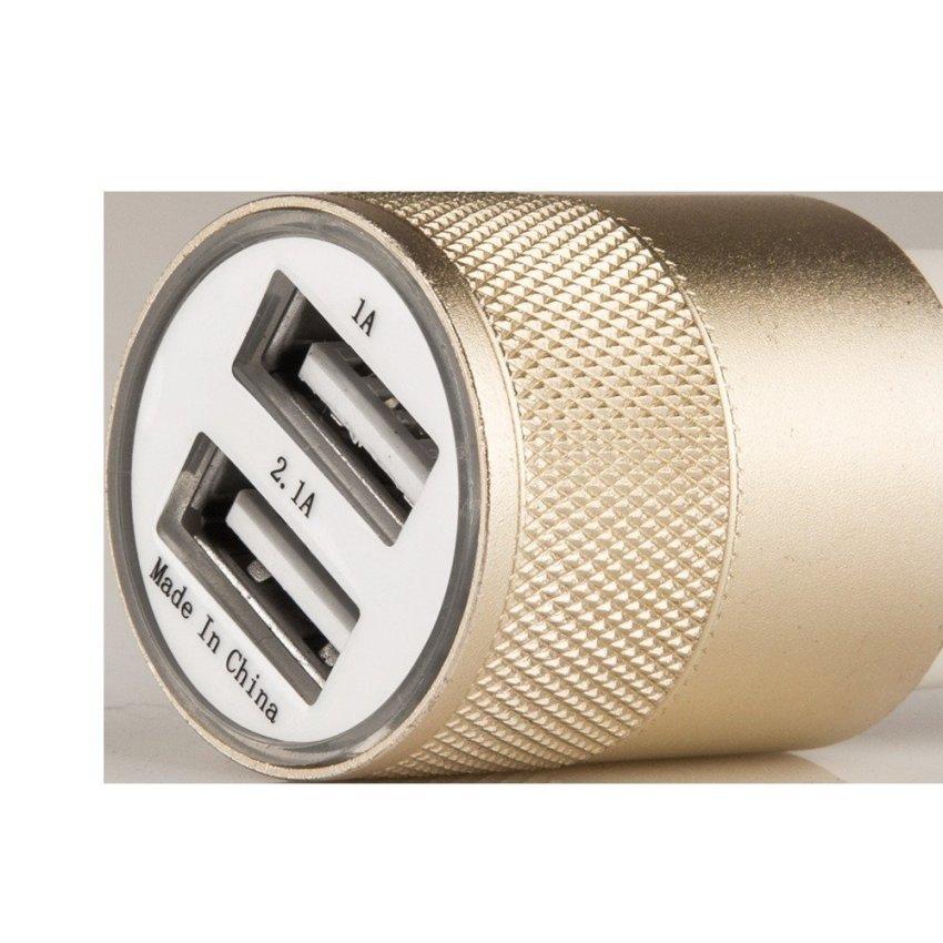 JANGO 12V 2.1A Half Aluminum Dual Port USB Car Charger Metal Ring Car Cigarette Lighter Charging Head For Iphone/Ipad/Samsung Tab (Gold) (Intl)