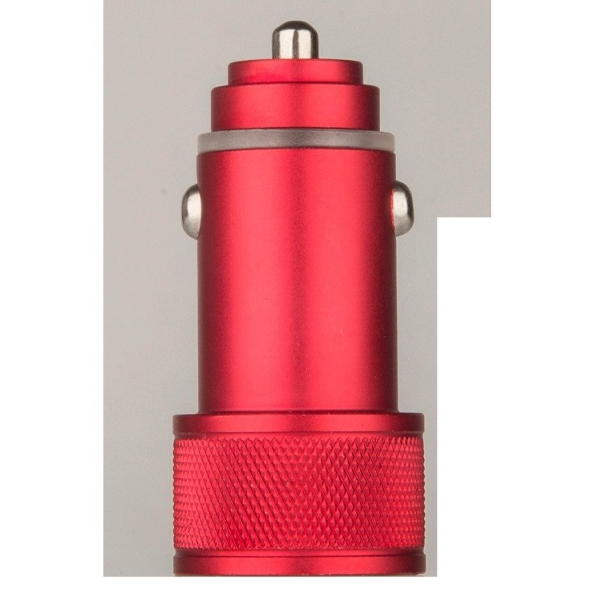 JANGO 3.1A Full Aluminum Dual Port USB Car Charger Metal Ring Car Cigarette Lighter Charging Head For Iphone/pad/Samsung Tab (Red) (Intl)