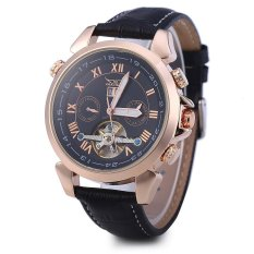 JARAGAR H057M Men Tourbillon Automatic Mechanical Watch Leather Strap Date Week Month