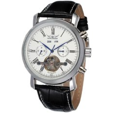 JARAGAR Luxury Calendar Automatic Tourbillon Self Wind Men Black Leather Strap Watch White Dial (Intl)