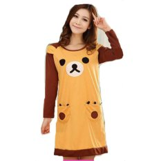 Jfashion Baju Tidur Dress Print Bear - Coklat