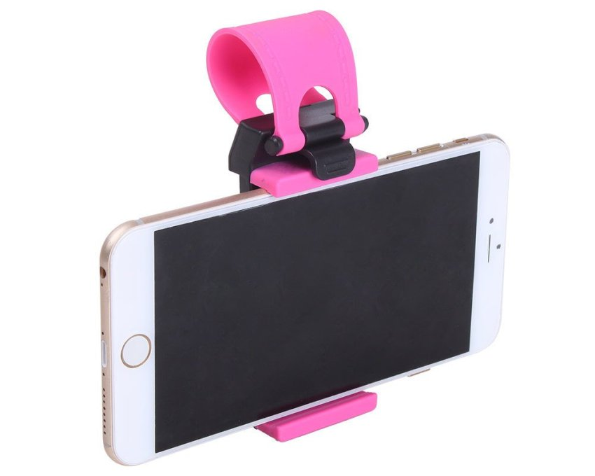 JIANGYUYAN Car Steering Wheel Mobile Phone Holder Mount Clip for iPhone 5 5G 4 4S Samsung Galaxy (Black and Roseo) (Intl)