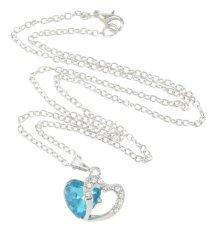 JIANGYUYAN Crystal Double Love Heart Necklace (18 Inch Long, Sea Blue) (Intl)