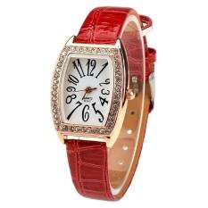 Jo.In Women Casual Rhinestone Watch Rectangle Wristwatch Quartz Watch (Red) - Intl