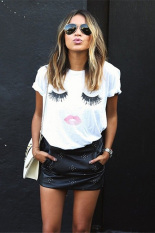 Jo.In Women Fashion Short Sleeve O-Neck Loose Graphic Tees Pullover T-Shirt S-L (White)