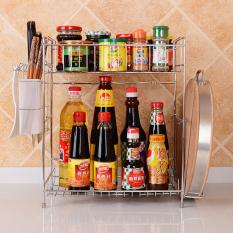 Kitchen Double Deck Stainless Steel Seasoning, Kitchenware Storage Rack (41 CM X 16.5 CM X 40.5 CM)