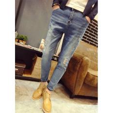 Korean Men's Slim Tidal Trousers Stretch Pants Feet Hole Jeans Pantyhose