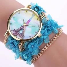 Lace Wrap Around Bracelet Crystal Synthetic Chain Analog Quartz Wrist Watch Blue Free Shipping