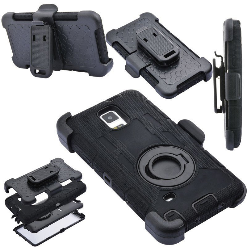 Lancase Hybrid Ring Stand Belt Clip Hard Case for Samsung Galaxy Note 4 (Black)