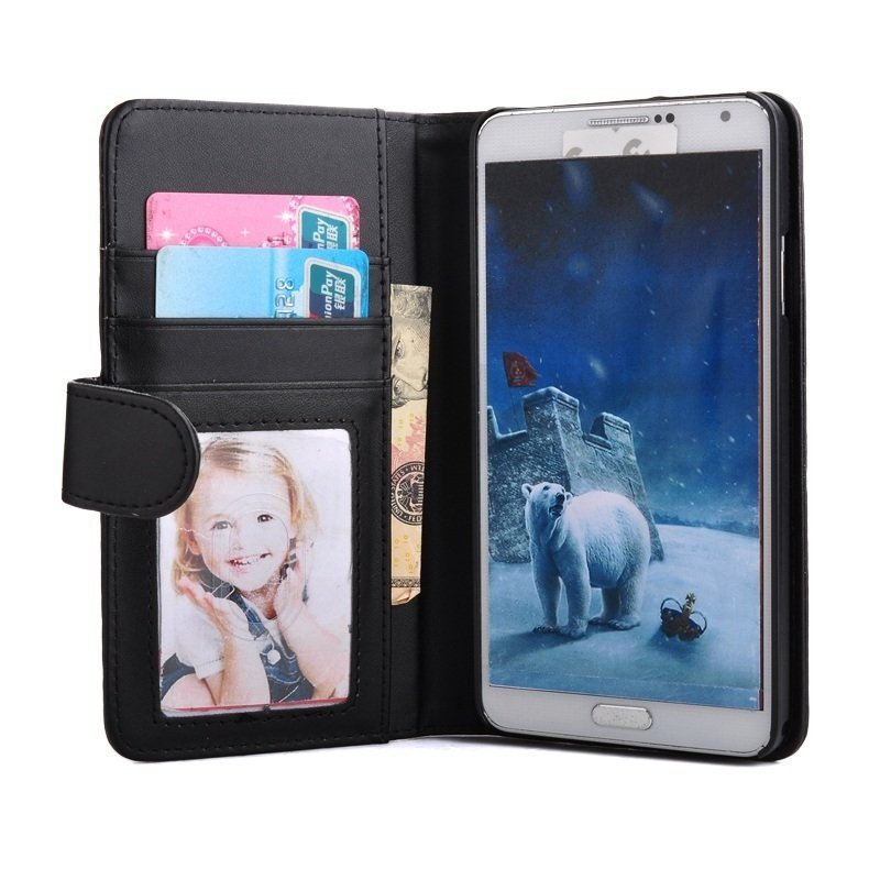Lancase Photo Frame Wallet Case for Samsung Galaxy Note 3 N9000 (Black)