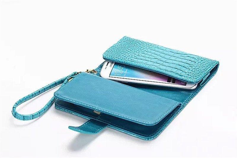 Lancase Universal Crocodile Style Multifuncion Wallet Leather Case for Samsung Galaxy J5 Blue