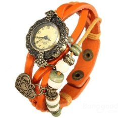 LD Shop Vintage Heart Pendant PU Leahter Knitted Band Women Bracelet Watch (Orange) - Intl