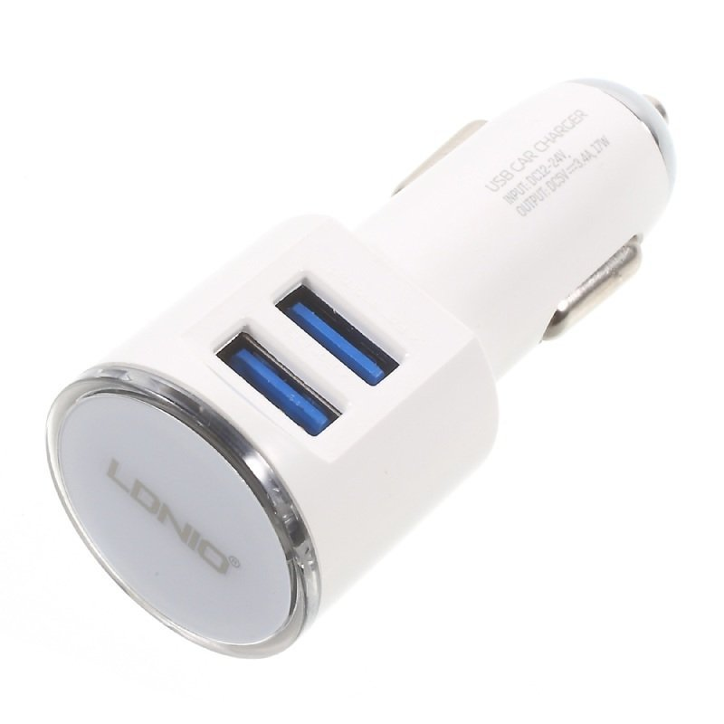 Ldnio Car Charger Mobil DL-C29 USB 3.4A - Putih