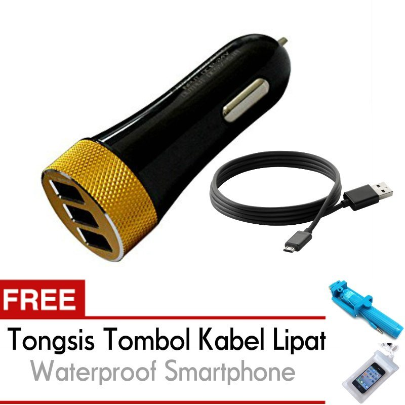 Ldnio Car Fast Charger Mobil 3 Port 5.1 A DL-C50 USB - Free Trend's Tongsis Monopod Tombol Kabel Lipat +  Waterproof Smartphone