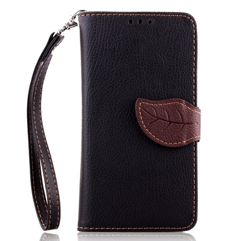 Leaf Clasp PU Leather Case with Stand Function 2 Card Holder Wallet Case Cover for iPhone 5 5s Black (Intl)