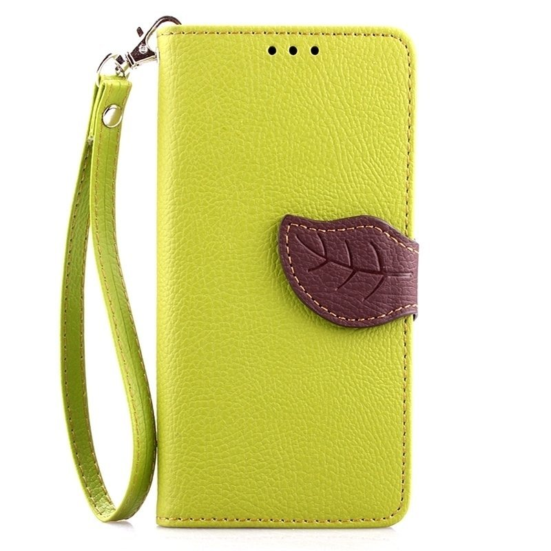 Leaf Clasp PU Leather Case with Stand Function 2 Card Holder Wallet Case Cover for iPhone 5 5s Green (Intl)