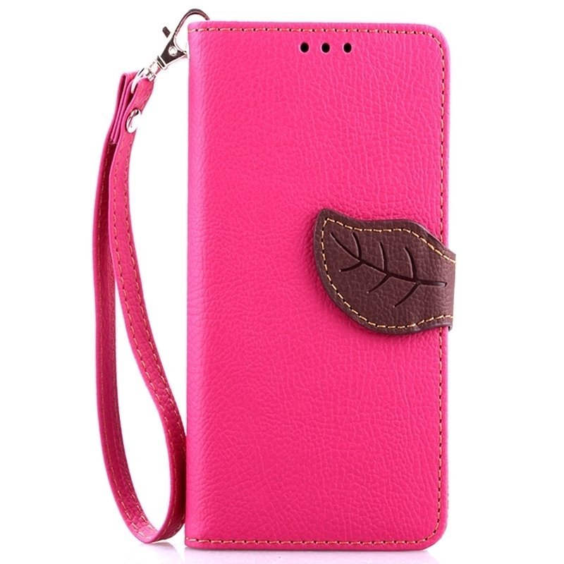 Leaf Clasp PU Leather Case with Stand Function 2 Card Holder Wallet Case Cover for iphone 5 5s Pink (Intl)