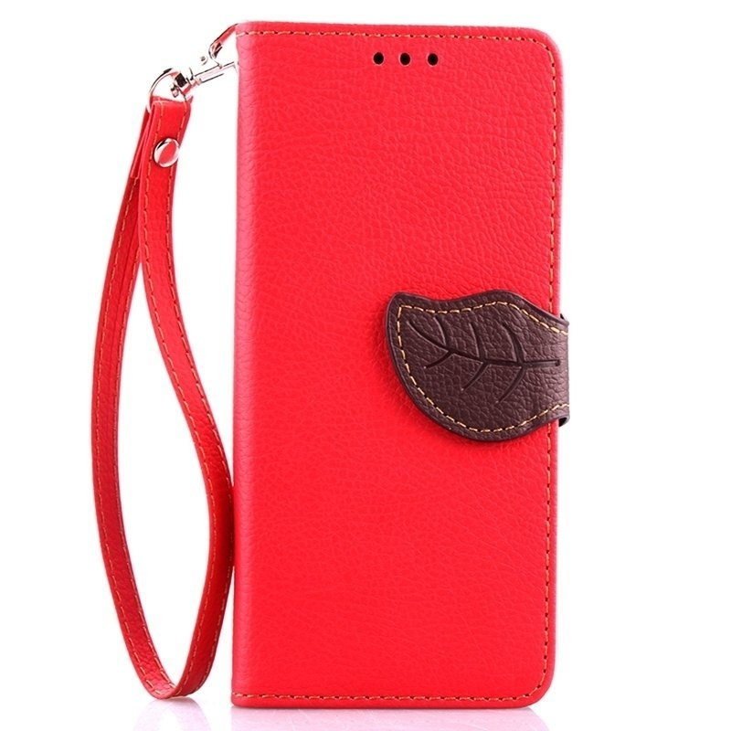 Leaf Clasp PU Leather Case with Stand Function 2 Card Holder Wallet Case Cover for iPhone 6 plus 6s plus Red (Intl)