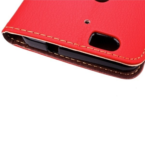 Leaf Magnetic Snap Litchi Texture Horizontal Flip Leather Case with Card Slots & Wallet & Holder & Lanyard for Google Nexus 6P(Red) (Intl)