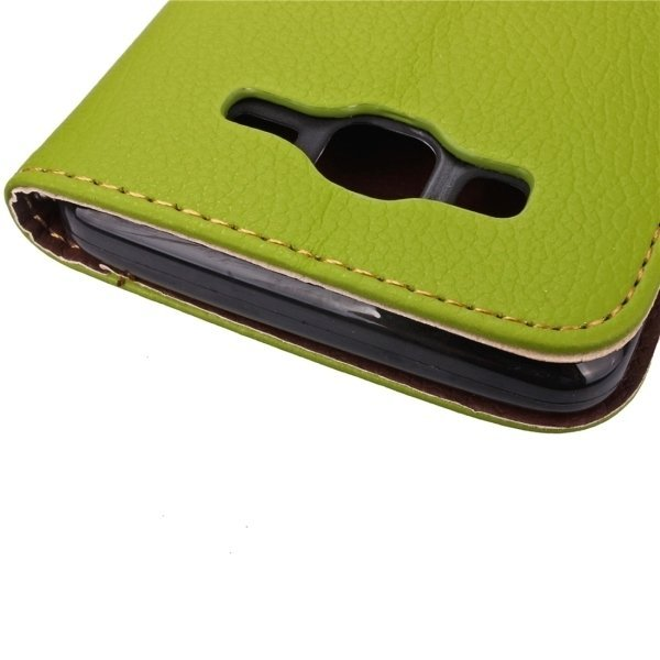 Leaf Pattern Leather Flip Cover for Samsung Galaxy J7 (Green) (Intl)