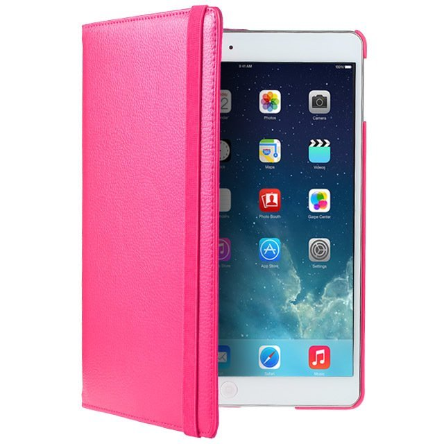 Leather 360 Degree Rotating Smart Stand Case Cover with Screen Protector and Stylus for iPad 4 3 2 Hot Pink