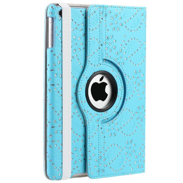 Leather 360 Degree Rotating Smart Stand Case Cover with Screen Protector and Stylus for iPad 4 3 2 Light Blue Crystal