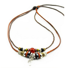 Leather Cotton Rope Necklace Leather Necklace Lovers Accessories Key - Intl