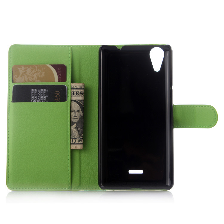Leather Cover with Card Bag Holder for Wiko Rainbow Lite (Green) (Intl)