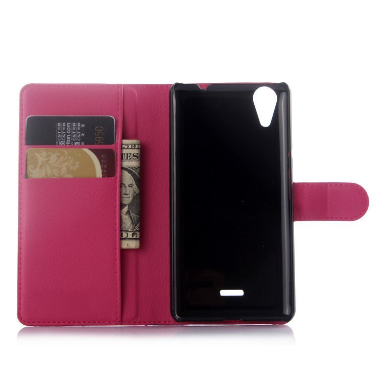 Leather Cover with Card Bag Holder for Wiko Rainbow Lite Rose (Red) (Intl)