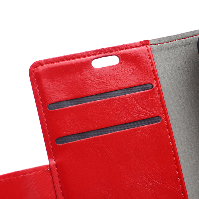 Leather Flip Case with Card Slot for Moto X3 (Red) (Intl)