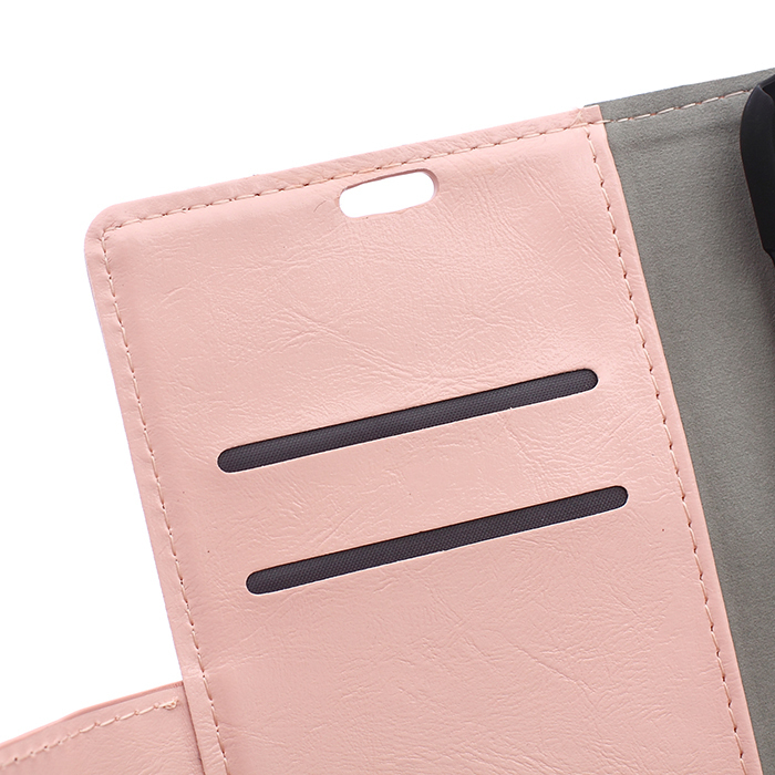 Leather Flip Case with Card Slot for Samsung Galaxy A8 (Pink) (Intl)