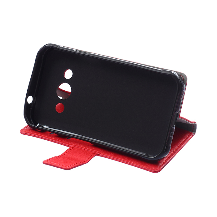Leather Flip Case With Card Slot for Samsung Galaxy Xcover 3 G388 (Red) (Intl)