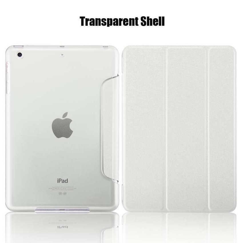 Leather Flip ShockProof DustProof Tablet Protective Slim Transparent Back Case for Apple iPad Air 2/iPad 6 White(INTL)