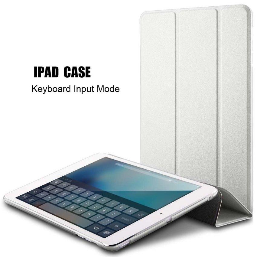 Leather Flip ShockProof DustProof Tablet Protective Slim Transparent Back Case for Apple iPad Air 2/iPad 6 White(INTL)