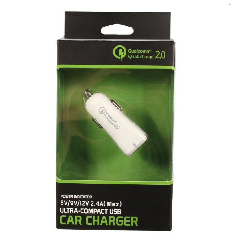 LED Quick Fast Charge QC 2.0 USB Car Cigarette Lighter Charger Adapter for Phone (White) (Intl)