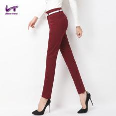 Likener Trend Straight Celana Formal Full Length Celana (Bordeaux Red)