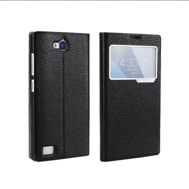Litchi Grain Leather Holster Flip Protective Cover for Huawei Honor 3C (Black)
