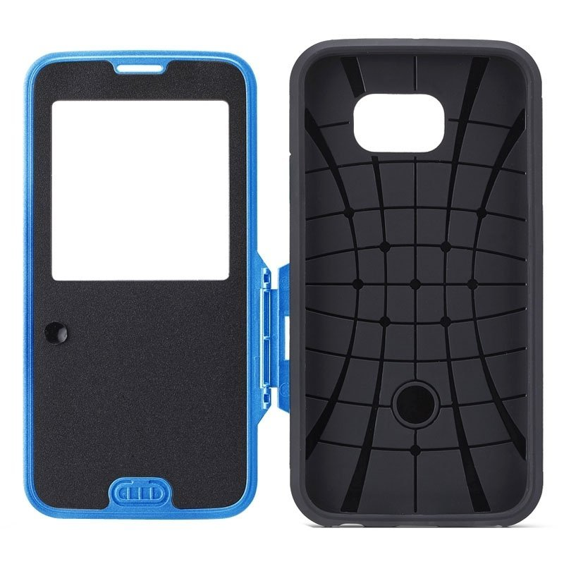 Litchi Texture Horizontal Flip Smart Case with Call Display ID for Samsung Galaxy S6 / G920(Blue)