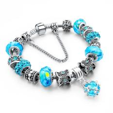 LongWay European Style Authentic Tibetan Silver Blue Crystal Charm Bracelets For Women Original DIY Beads Jewelry