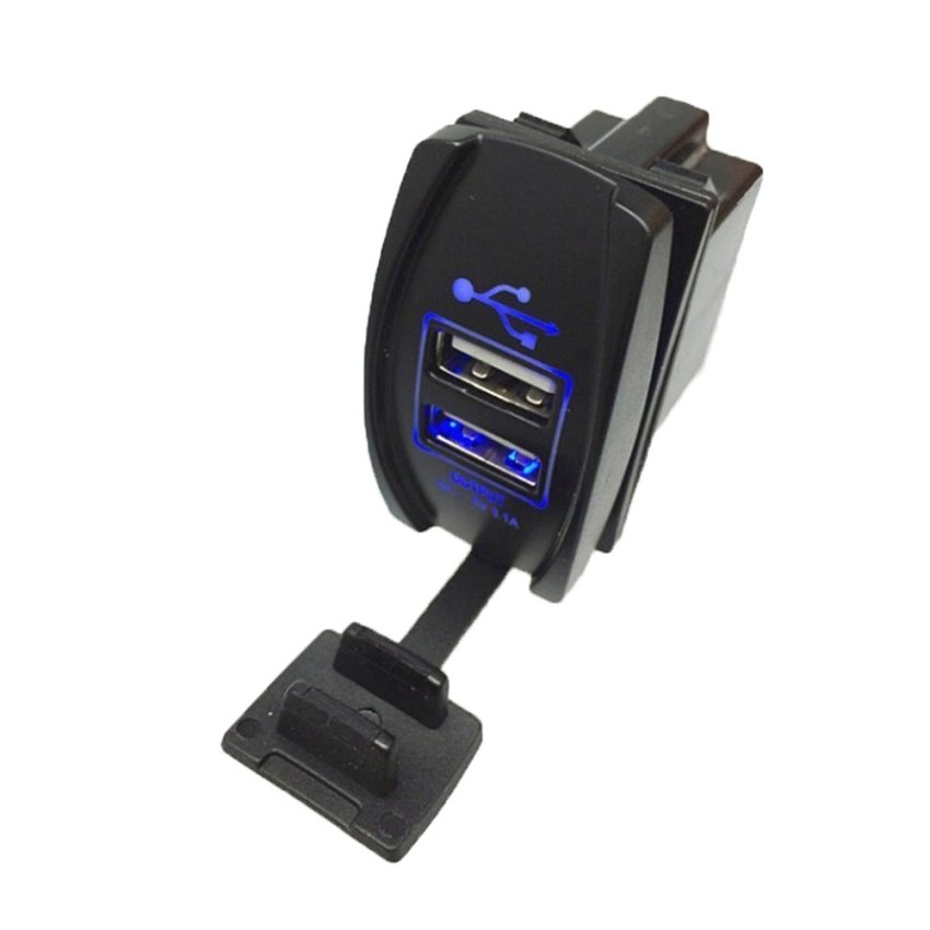 louiwill Car Motorcycle USB Socket Splitter Mobile Charger (Black+Blue) (Intl)