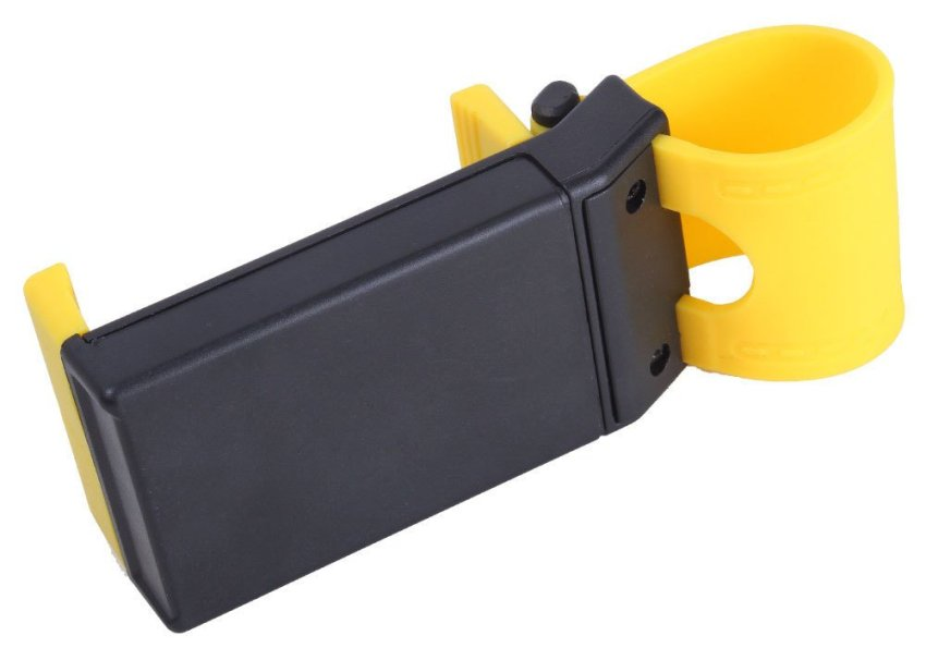 louiwill Car Steering Wheel Mobile Phone Holder Mount Clip for iPhone 5 5G 4 4S Samsung Galaxy (Black and Yellow) (Intl)