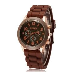 Louiwill Casual Watch Geneva Unisex Quartz Watch Men Women Analog Wristwatches Fashion Sports Watches Rose Gold Silicone Watches Dropship (Coffee) (Intl)