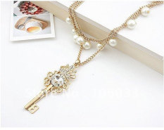 Louiwill Fashion Crown Key With Pearls Double Row Long Key Pendant Necklace - Intl