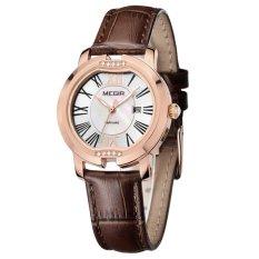 Louiwill MEGIR Brand New Luxury Calender Women Watches Dress Leather Sapphire Quartz Wirstwatch 3ATM Trendy High Quality Shell Clock Hour (Coffee Gold White) (Intl)