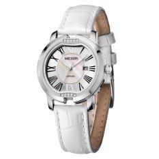 Louiwill MEGIR Brand New Luxury Calender Women Watches Dress Leather Sapphire Quartz Wirstwatch 3ATM Trendy High Quality Shell Clock Hour (White Silver White) (Intl)