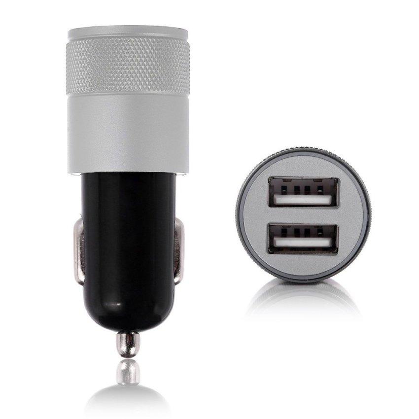 louiwill Preminum 2.1A Rapid Dual USB Port Car Charger Adapter (Black & Silver) (Intl)