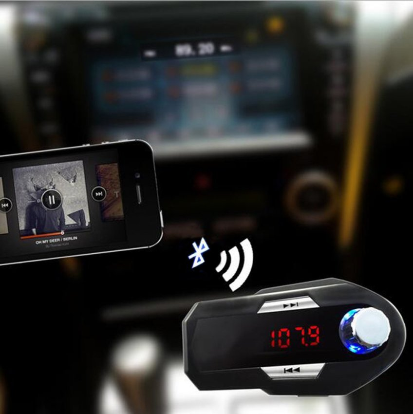 louiwill Wireless Bluetooth FM Transmitter USB Car Charger for Phones Tablets(Black) (Intl)
