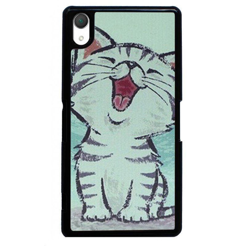 Lovely Happy Cat Painting Phone Case for SONY Xperia Z4 (Black)