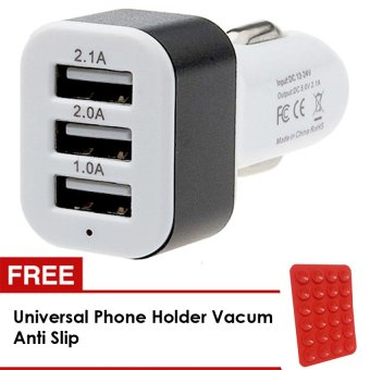 Lucky - Car Charger 5.1A 3 Port Charger Mobil + Gratis Universal Phone Holder Va