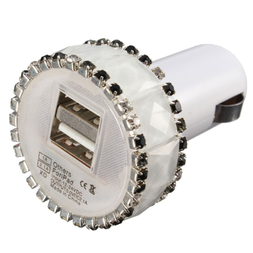 Luxury Bling Diamond Dual USB Port Car Charger Adapter for Phone Tablet Computer White (Intl)